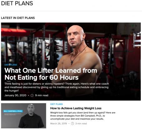 Bodybuilding Diet Plan Blog Feed for Freshness Example