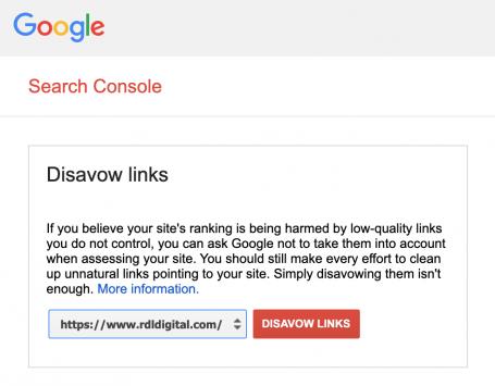 Google Disavow Tool Screenshot