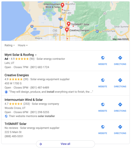 Google Local SEO Map Pack Listings