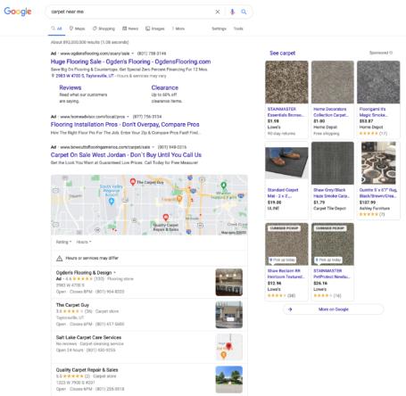 Google SERP for Carpet Screenshot