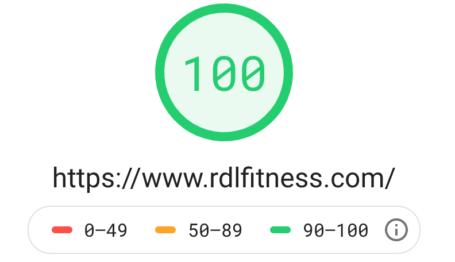 RDLFITNESS Google PageSpeed Insights Score