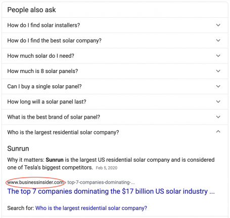 Solar Installer Near Me 1st Page SERP Rich Answers Featured Snippets Linkbuilding