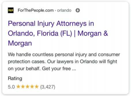 Standard Organic Search Result Page Personal Injury Attorney Mobile Example